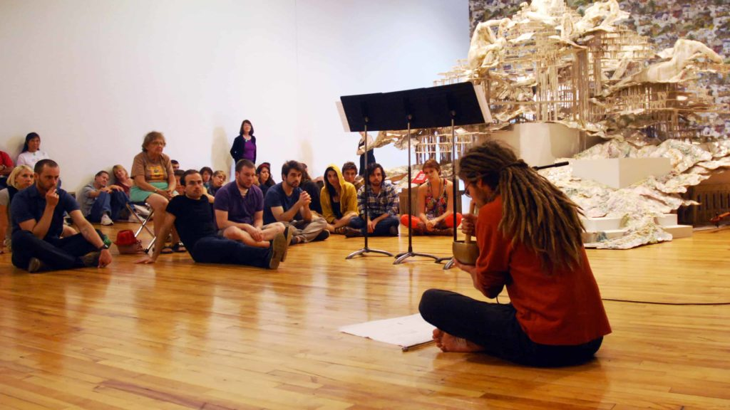 A Bang on a Can musician performs in the galleries at Mass MoCA in North Adams.