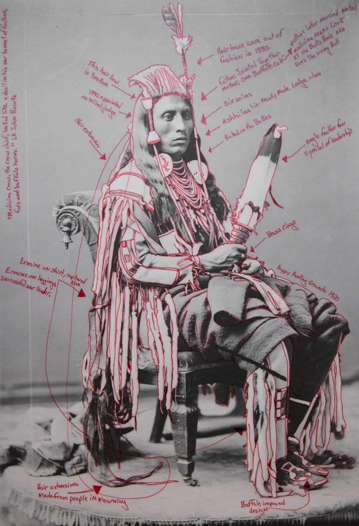 Wendy Red Star draws out stories in a portrait of Peelatchiwaaxpash / Medicine Crow (Raven). Photo Courtesy of the artist and Mass MoCA.