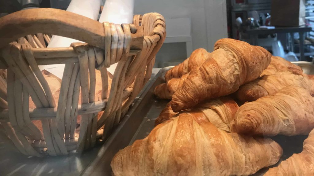 Croissants wait on the counter in the sun at the Lost Lamb bakery and cafe in Stockbridge.