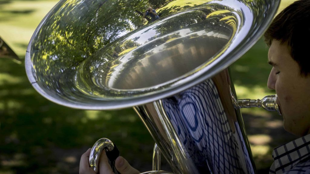 A Tanglewood Music Center tuba fellow plays at the BSO's summer home in Lenox.