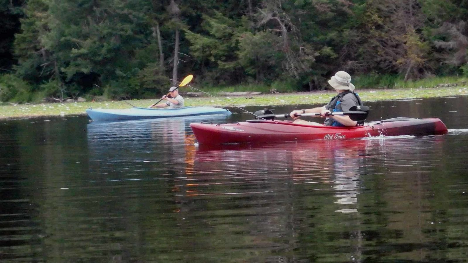 Kayakers fish Lake Benedict in Beartown State Forest, in Lee.