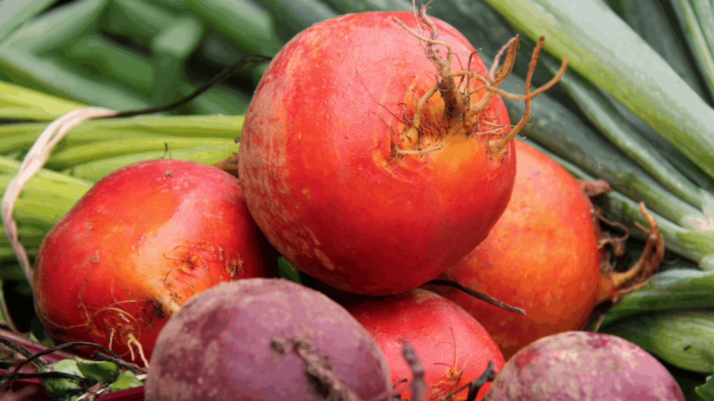 Golden and magenta beets catch the sun at the Williamstown Farmers Market.