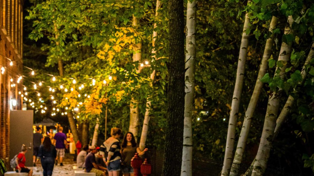 The Chalet at Mass MoCA in North Adams hosts live music outdoors along the Hoosic River Thursdays in July and August.