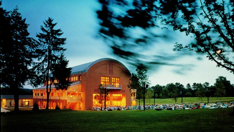 Ozawa Hall at Tanglewood catches the light. Photo by Steve Rosenthal, courtesy of Tanglewood.