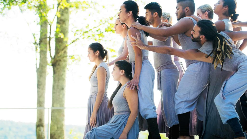 Modesto Junior College dancers perform on the Inside / Out Stage at Jacob's Pillow Dance Festival in Becket. Image courtesy of Jacob's Pillow