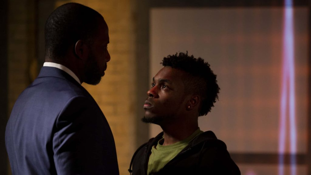 Kevin Craig West as Xavier and Hubens 'Bobby' Cius as Omari appear in WAM Theatre's production of Pipeline by Dominique Morisseau, directed by Dawn M. Simmons. Photo by David Dashiell.