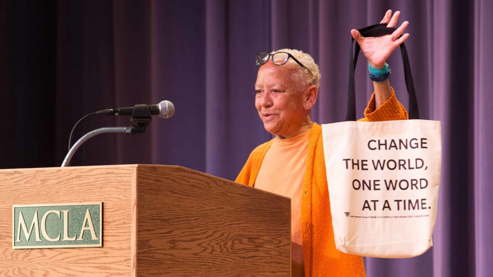 Internationally acclaimed poet, professor, writer and activist Nikki Giovanni speaks at the MCLA Institute for the Humanities' inaugural symposium in June 2019.