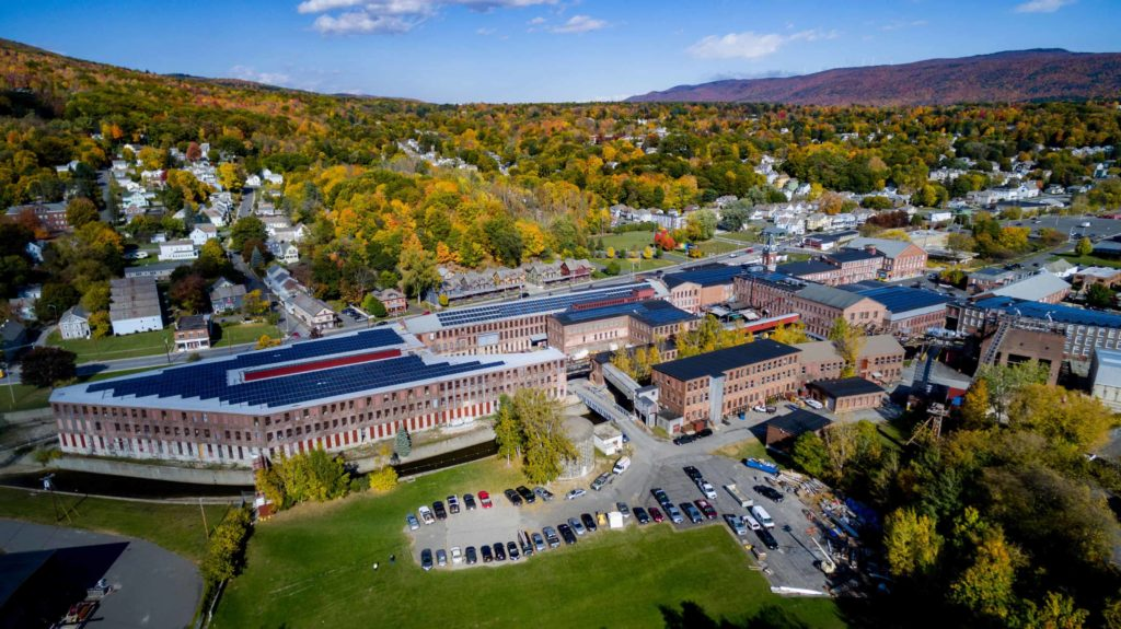 An aerial view of Mass MoCA at the foot of Mount Greylock. Press photo courtesy of Mass MocA.