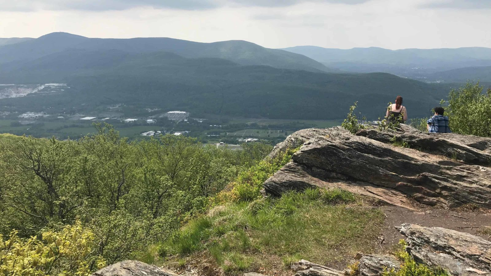 The Berkshire Natural Resources trail on the North Hoosac Range looks west over North Adams on a sunny afternoon.