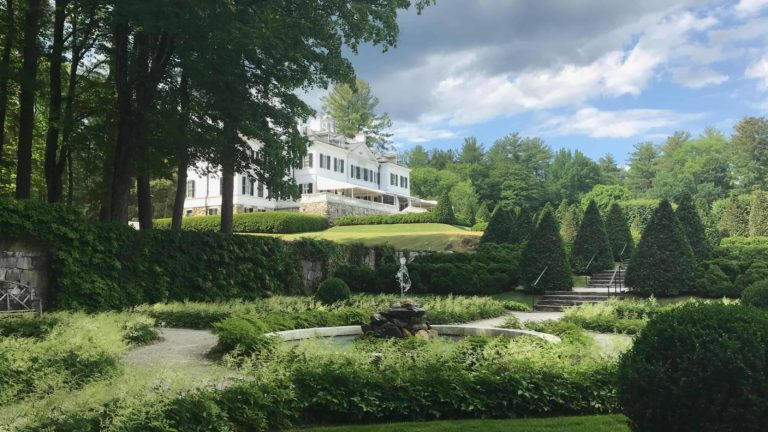 A fountain plays in Edith Wharton's gardens at the Mount in high summer.