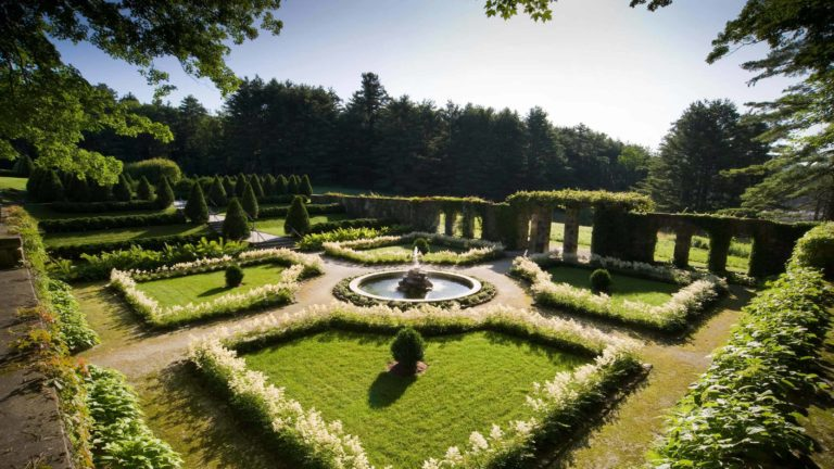 The Itanlain garden glows in afternoon light at the Mount, Edith Wharton's historic house in Lenox.