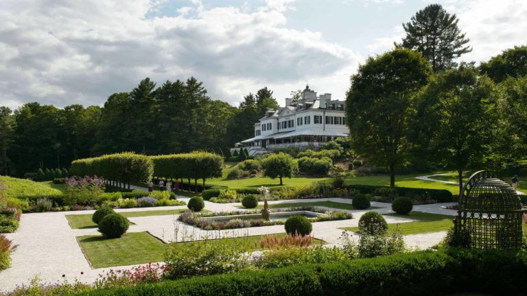 Flower beds show bright color at The Mount, Edith Wharton's historic house in Lenox.