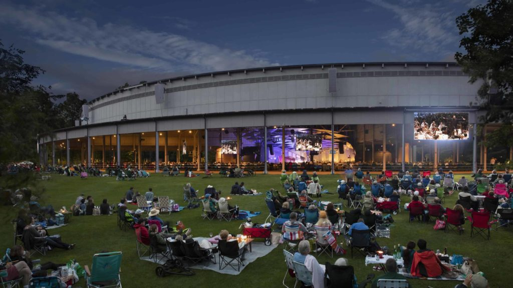 Families on the lawn at Tanglewood on a summer night listen to the Boston Symphony Orchestra. Press photo courtesy of the BSO.